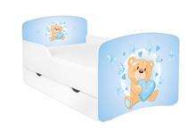 Łóżko dziecięce z szufladą DORA 17 - miś z serduszkiem/niebieski
