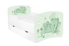 Łóżko dziecięce z szufladą DORA 18 - misiaczek zielony