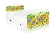 Łóżko dziecięce z szufladą DORA 20 - kwiaty zielone