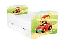 Łóżko dziecięce z szufladą DORA 22 - piesek w autku