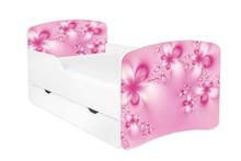 Łóżko dziecięce z szufladą DORA 24 - kwiaty