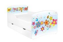 Łóżko dziecięce z szufladą DORA 26 - kwiaty niebieskie