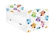 Łóżko dziecięce z szufladą DORA 46 - sowy/biały