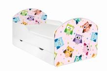 Łóżko dziecięce z szufladą MAJA 53 - sowy/różowy