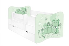 Łóżko dziecięce z szufladą i barierką LEON 18 - misiaczek zielony