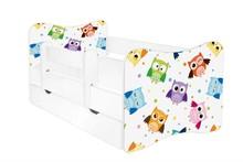 Łóżko dziecięce z szufladą i barierką LEON 46 - sowy/biały