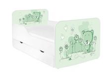 Łóżko dziecięce z szufladą ZUZA 18 - misiaczek zielony