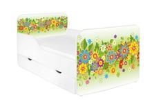 Łóżko dziecięce z szufladą ZUZA 20 - kwiaty zielone