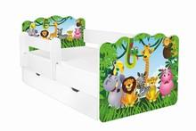 Łóżko dziecięce z szufladą i barierką ALEX - różne wzory