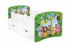 Łóżko dziecięce z szufladą i barierką HUGO - różne wzory