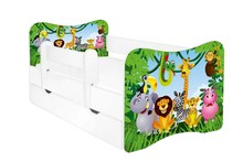 Łóżko dziecięce z szufladą i barierką LEON - różne wzory