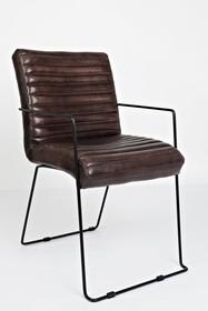 Krzesło skórzane z podłokietnikami AVOLA CHESTNUT AV1781-WYATT - orzechowy