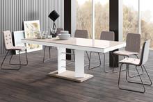 Stół rozkładany LINOSA LUX - wysoki połysk/cappucino-biały
