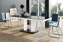 Stół rozkładany LINOSA LUX - wysoki połysk/czarno-biały