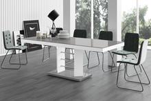 Stół rozkładany LINOSA LUX - wysoki połysk/szaro-biały