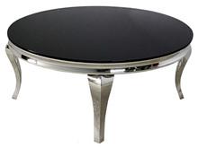 Stolik kawowy okrągły C306-1 - czarne szkło