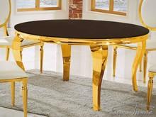 Stół okrągły TH306-5 140 cm - złoty/czarne szkło