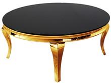 Stolik kawowy okrągły C306-1 - złoty/czarne szkło