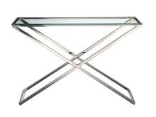 Konsola ze szklanym blatem GG-1006 - srebrny/przezroczyste szkło